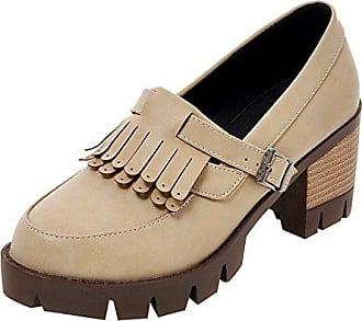 Mit High Uh Schuhe Chunky Heels Pumps Damen Plateau Bequeme Fransen Blockabsatz PwE4xw0q