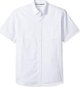 Azul Amazon sleeve Short Medium fit Camisa Oxford Pocket Blu Regular Stripe Essentials blue nqaqrwBzS