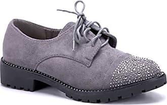 8e917777adff67 Schuhtempel24 Halbschuhe Blockabsatz 3 Cm Damen Schuhe dandy Grau Ziersteine  zSqMGUVp