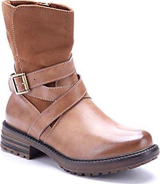 Stiefel Klassische Camel 4 Damen Boots Schuhtempel24 Stiefeletten Cm Schuhe Blockabsatz Schnalle wqnU7pCATx