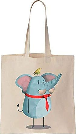Finest Elephant Tote Cotton Tiny Watercolor Cute Bag Canvas Sitting With Bird Prints rtqw6UFr