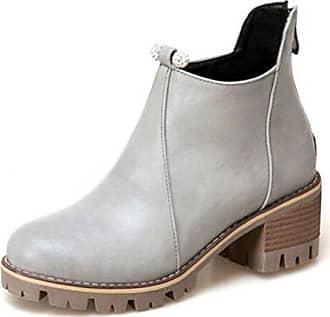 Stiefel Modisch Eu Blockabsatz 40 Profilsohle Zehe Grau Damen Boots Rund Ankle Easemax 5Paq8x