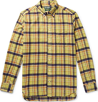 Checked flannel Cotton down Collar Button Brushed Vintage ShirtYellow Gitman Pk8nOX0w
