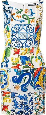 Majolica Robe Blanc Dolce amp; À Gabbana Cintrée Imprimé wEvqpYR