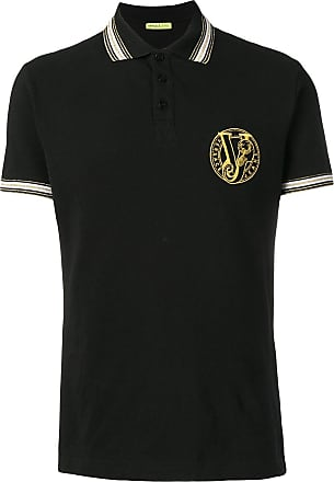Shirt Jeans Versace Polo Couture Logo Embroidered Noir rXAndAqx