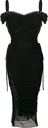Froncée Laçage Dolce Noir Mi longue amp; Gabbana De À Robe Détails RqzTXZfq