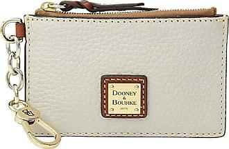Dooney & Bourke Pebble Zip Top Card Case (Ecru/Tan Trim) Credit card Wallet