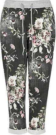 Crazy Girls Womens Plain Italian Floral Trousers, Black Floral, ML (UK 12-14)