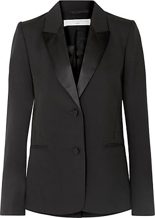 Victoria Beckham Satin-trimmed Wool And Mohair-blend Blazer - Black