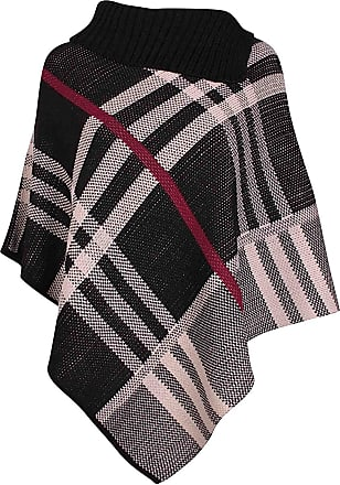 Purple Hanger Womens Check Printed Ladies Stretch Knitted Collared Cape Wrap Shawl Jumper Poncho Top Black 8-16