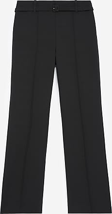 The Kooples Straight-cut black suit trousers with belt - WOMEN