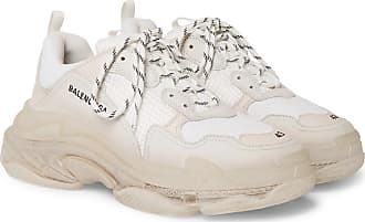 best authentic b8703 9f84f Balenciaga Triple S Clear Sole Mesh, Nubuck And Leather Sneakers - White