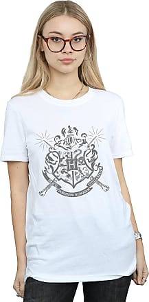 Harry Potter Womens Hogwarts Badge Wands Boyfriend Fit T-Shirt XX-Large White