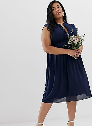 Tfnc Plus lace detail midi bridesmaid dress in navy - Navy