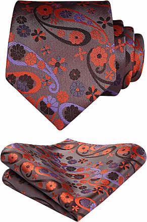 Hisdern Check Paisley Wedding Party Tie Handkerchief Mens Necktie & Pocket Square Set Orange/Purple