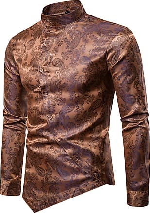 Whatlees Mens Vintage Long Sleeve Baroque Design Button Down Casual Dress Shirts Slim Fit Gold 02010201XGold+XL