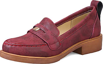 Mediffen Loafers Shoes Classic Women Round Toe Mid Heels Pumps Comfort Female Block Heels Pumps Retro Loafers Slip On Red Size 35 Asian