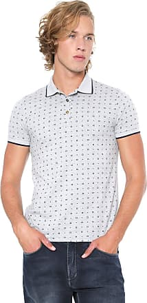 Malwee Camisa Polo Malwee Slim Quadrados Cinza