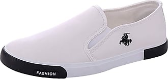 junkai Mens Causual Leather Shoes Breathable Pu Leather Slip On Men Fashion Flats Loafer White 40