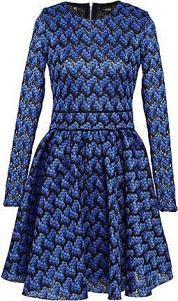 baf061319d5 Maje Maje Woman Royani Pleated Crocheted Mini Dress Cobalt Blue Size 3