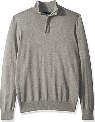 Perry Ellis Mens Solid Mock Sweater, Smoke Heather/DFG Medium