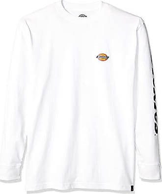 Dickies Mens Long Sleeve Logo Graphic Tee, White, S