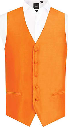 Dobell Mens Orange Waistcoat Regular Fit Dupion 5 Button-4XL (58-60in)