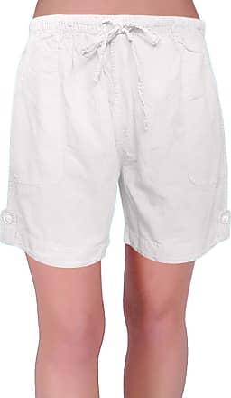 Eyecatch Eden Womens Pull On Cotton Adjustable Waist Elasticated Ladies Shorts (X Larage) White