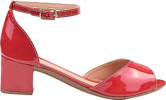 Eleganteria Sandália Feminina Verniz Vermelha Salto Baixo Eleganteria Tamanho:34;Cor:Vermelho