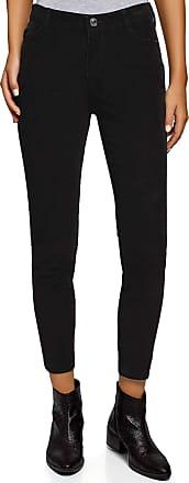oodji Womens Slim-Fit Corduroy Trousers, Black, UK 10 / EU 40 / M