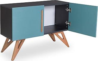 Odin Buffet Arthur com 2 Portas 90 cm Preto e Azul AgathaPreto e Azul Agatha
