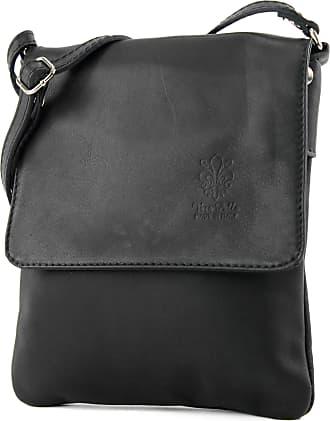 modamoda.de ital leather shoulder bag Messenger bag ladies small T 34, Colour:black