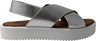 Inuovo 128007 - Leather Cross Sandal. Silver for Women Silver Size: 8.5 UK