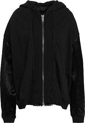 fdacbaa07ba3f5 Haider Ackermann Haider Ackermann Woman Satin-paneled French Cotton-terry  Hooded Jacket Black Size