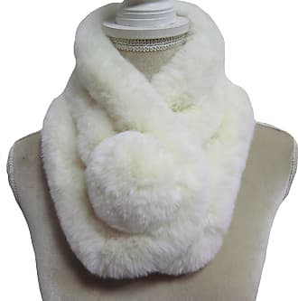 Lina & Lily Unisex Winter Fur Collar Scarf with Pom Soft Fluffy (Cream White)(Size: One Size)