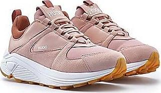 HUGO BOSS Sneakers aus Mesh, Veloursleder und Leder mit dicker Sohle