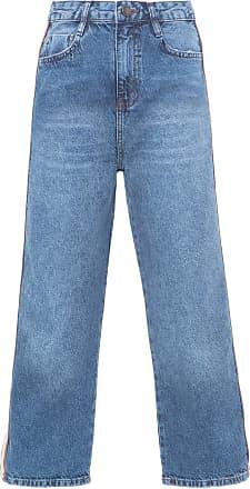Shoulder Calça Jeans Cropped Faixa Lateral Shoulder - Azul
