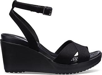 7e494a7c069f Crocs Sandales LEIGH II CROSS STRAP ANKLE WEDGE WOMEN - CROCS - Noir