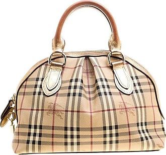 Burberry Gold Haymarket Check Pvc And Leather Thornley Bowling Bag 1a86c1c44218c