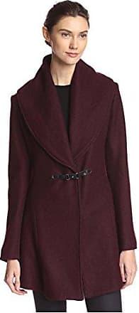 Kensie Womens Buckle Front Coat, Merlot, L