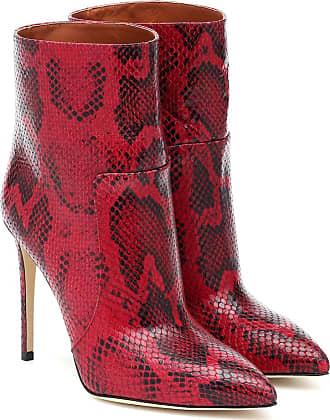 PARIS TEXAS Python-print leather ankle boots