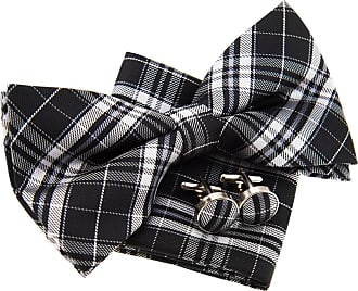 Retreez Stylish Plaid Checkered Woven Microfiber Pre-tied Bow Tie (Width: 5) with matching Pocket Square and Cufflinks, Gift Box Set as a Christmas Gift, Birt
