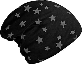 DonDon Womens Slouch Beanie with Stars Print and Soft Inner Lining - Black