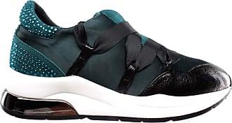 Liu Jo Womens Shoes Sneakers Karlie 03 Satin Strass Teal Green Black Verde New