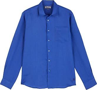 Vilebrequin Men Linen Shirt Solid - Batik Blue - XL
