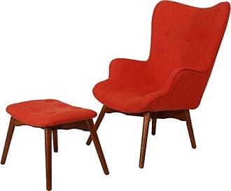 BEST SELLING HOME Anders Mid-Century Arm Chair with Ottoman