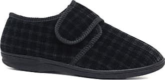 Northwest Territory Diabetic Orthopedic Mens Easy Close Wide-Fitting Touch Close Bar-Strap Shoe Slipper (11 UK, Black./Check)