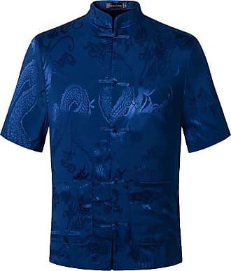 Jeansian Mens Chinese Traditional Tang Short Sleeve Dragon Kung Fu Tai Chi Shirt Tops L810 Blue XXXL
