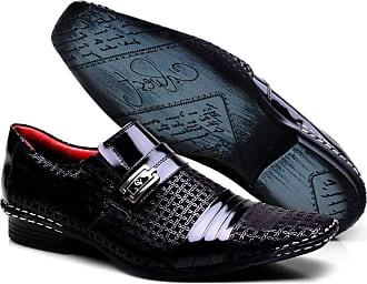 Calvest Sapato Social Masculino em Couro com Costura Manual Calvest Chicago 1750B475B - Preto