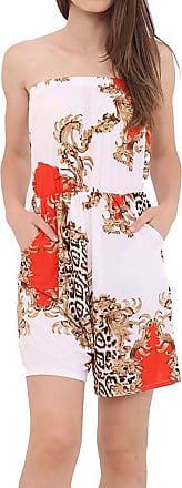 Islander Fashions Womens Boobtube Bardot Off Shoulder Short Jumpsuit Ladies Fancy Printed Playsuit Red Paisley XXX Large UK 24-26